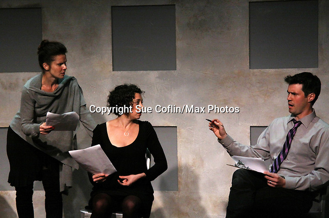 """One Life To Live's Florencia Lozano """"Tea Delgado stars with Amanda Sayle and Jonathan Pereira (host and director of shosw) in """"Verbatim Verboten - NYC"""" on October 18, 2010 at the WorkShop Theater, NYC. (Photo by Sue Coflin/Max Photos)"""