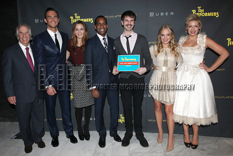 Henry Winkler, Cheyenne Jackson, Alicia Silverstone, Daniel Breaker, Contest Winner, Jenni Barber & Ari Graynor attending the Broadway Opening Night Performance After Party for 'The Performers' at E-Space in New York City on 11/14/2012