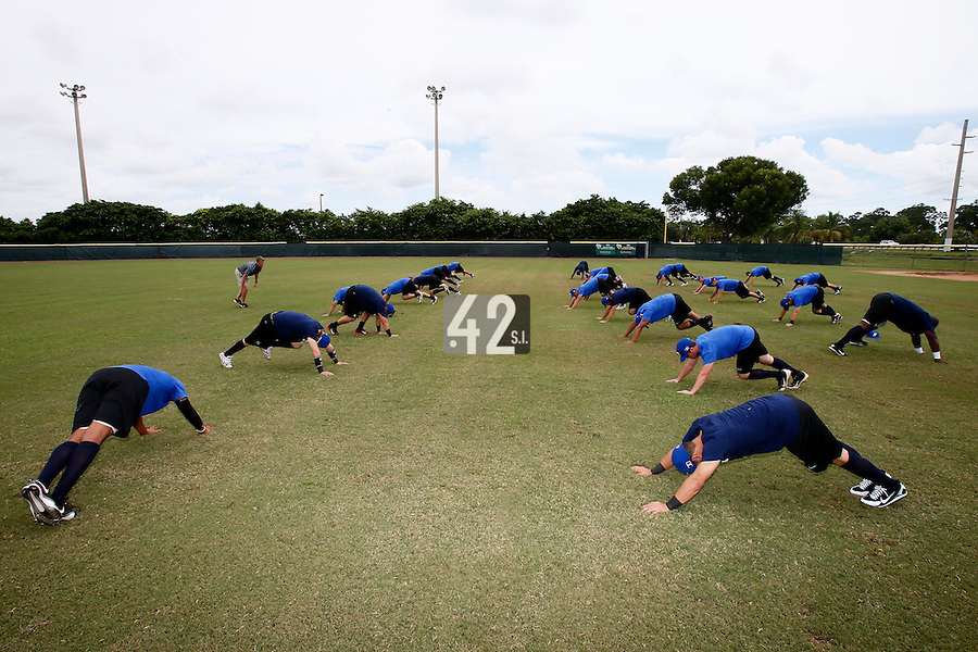 19 September 2012: Team France players warm up prior to Team France friendly game won 6-3 against Palm Beach State College, during the 2012 World Baseball Classic Qualifier round, in Lake Worth, Florida, USA.