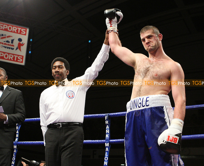 David Ingleby (Morecambe, blue shorts) defeats Dave Howe (Sheffield, red shorts) in a Heavyweight boxing contest at York Hall, Bethnal Green, promoted by FTM Sports/Maloney Promotions -  17/10/08 - MANDATORY CREDIT: Gavin Ellis/TGSPHOTO - Self billing applies where appropriate - Tel: 0845 094 6026