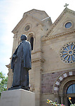 Statue of Archbishop Jean Baptiste Lamy, the first bishop and archbishop of the Diocese of Santa Fe, in front of the St. Francis Cathedral Basilica, in Santa Fe, New Mexico