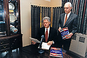United States President Bill Clinton tapes his weekly radio address on protecting children from &quot;the use, abuse, and sale of drugs&quot; from the Wyndham Franklin Hotel in Philadelphia, Pennsylvania on Friday, February 13, 1998.  Standing with the President at right is retired US Army General Barry R. McCaffrey, Director of the Office of National Drug Control Policy. <br /> Mandatory Credit:  Ralph Alswang / White House via CNP