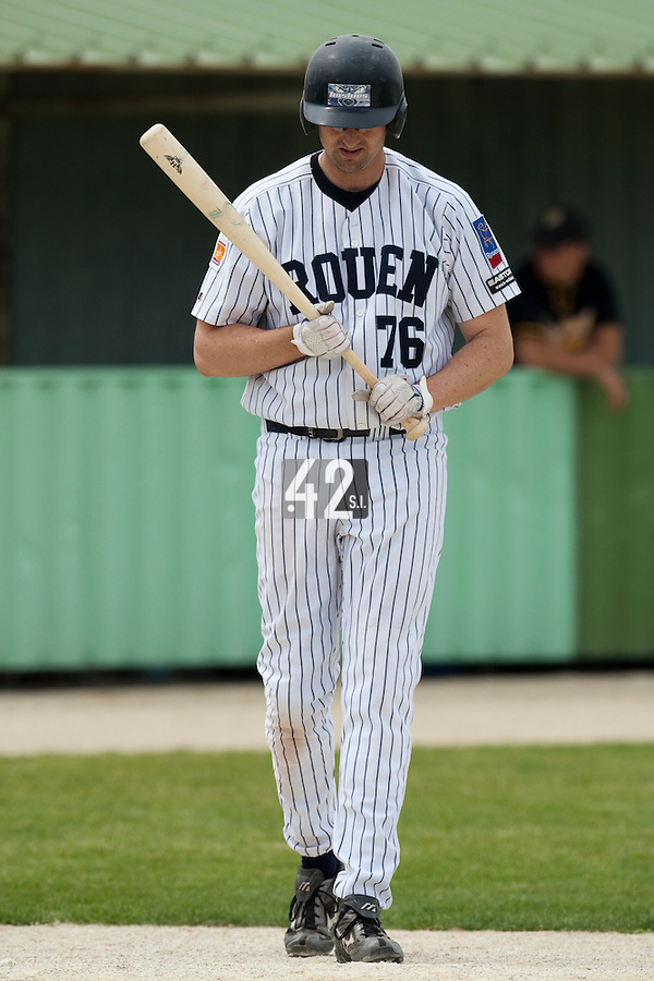 21 May 2009: Ian Young of Rouen is seen at bat during the 2009 challenge de France, a tournament with the best French baseball teams - all eight elite league clubs - to determine a spot in the European Cup next year, at Montpellier, France.