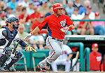 6 March 2012: Washington Nationals catcher Sandy Leon in action during a Spring Training game against the Atlanta Braves at Champion Park in Disney's Wide World of Sports Complex, Orlando, Florida. The Nationals defeated the Braves 5-2 in Grapefruit League play. Mandatory Credit: Ed Wolfstein Photo