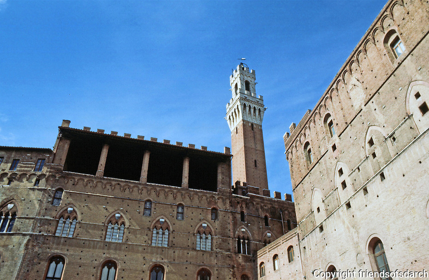Siena:  Torre Mangia from Market.