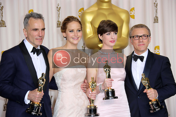 Daniel Day-Lewis, Jennifer Lawrence, Anne Hathaway and Christoph Waltz<br />