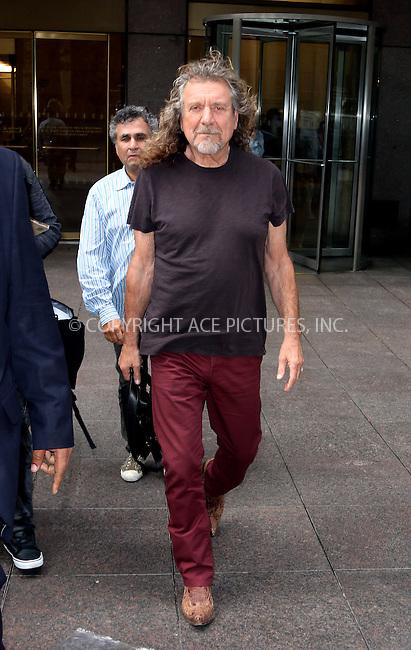 ACEPIXS.COM<br /> <br /> September 22 2014, New York City<br /> <br /> Musician Robert Plant leaves the studios of Sirius Radio on September 22 2014 in New York City<br /> <br /> By Line: Zelig Shaul/ACE Pictures<br /> <br /> ACE Pictures, Inc.<br /> www.acepixs.com<br /> Email: info@acepixs.com<br /> Tel: 646 769 0430