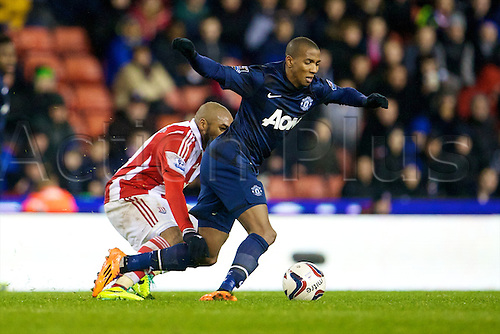 18.12.2013  Stoke, England. Manchester United midfielder Ashley Young in action during the Capital One Cup game between Stoke City and Manchester United from The Britannia Stadium