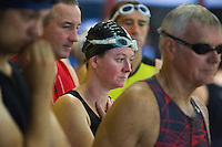28 SEP 2014 - STOWMARKET, GBR - Competitors wait for their swimstart during the 2014 West Suffolk Triathlon in Stowmarket in Suffolk, Great Britain (PHOTO COPYRIGHT © 2014 NIGEL FARROW, ALL RIGHTS RESERVED)