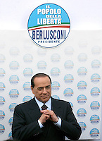 Il leader del Popolo della Liberta' Silvio Berlusconi arriva alla presentazione dei candidati alle prossime elezioni politiche a Roma, 13 marzo 2008..Leader of the italian People of Freedom center-right coalition Silvio Berlusconi arrives at a meeting in Rome, 13 march 2008, for the presentation of the candidates at the incoming political election..UPDATE IMAGES PRESS/Riccardo De Luca