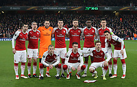 Arsenal Pre match team photo during the Europa League match between Arsenal and AC Milan at the Emirates Stadium, London, England on 15 March 2018. Photo by PRiME Media Images.
