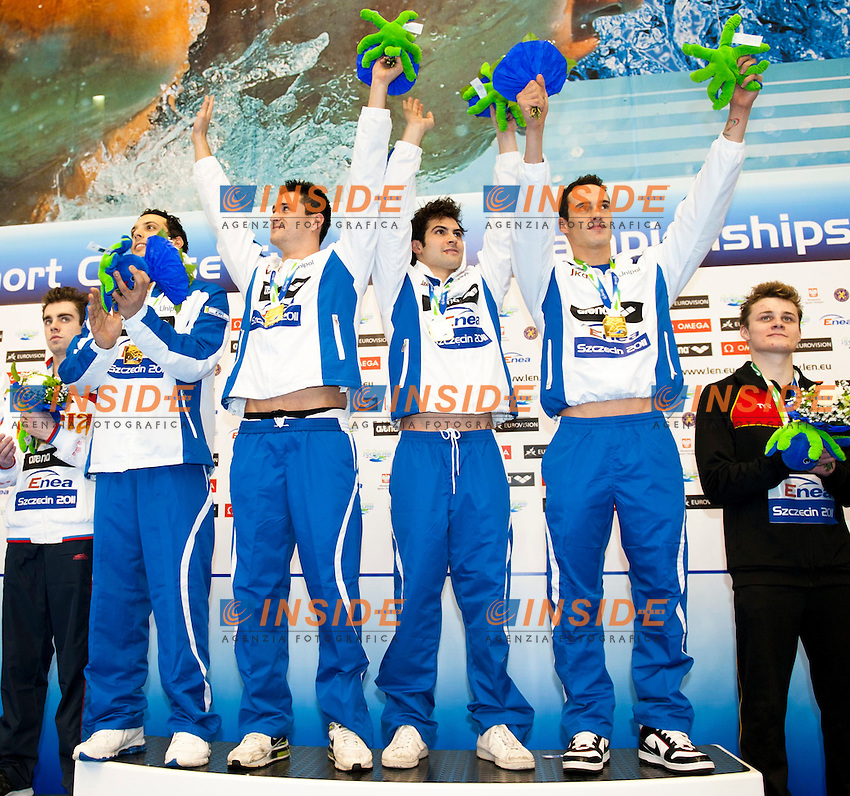Szczecin Poland - Stettino Polonia POL country Dec.8 - 12 2011 .European Swimming Short Course Championships.Swimming Nuoto -Day 01 Final.4x50 Medley relay M ITA.from left to right.Mirco Di Tora, Marco Orsi, Paolo Facchinelli, Fabio Scozzoli..Insidefoto / Giorgio Scala
