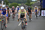 Riders cross the finish line during the Irish National Men's Elite Road Race Championships held over an undulating course featuring 9 laps centered in the village of Multyfarnham, Co.Westmeath, Ireland. 29th June 2014.<br /> Picture: Eoin Clarke www.newsfile.ie