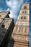 Bell Tower, Cathedral Santa Maria del Fiore, Florence, Italy, also known as the Duomo, begun in 1296 by Arnolfo di CAMBIO, dome by Filippo BRUNELLESCHI, 1377-1446, completed in 1436, Bell Tower designed by GIOTTO, 1267-1337 pictured on June 8 2007.