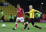 Watford's Will Hughes tussles with Bristol City's Gary O'Neil during the Carabao cup match at Vicarage Road Stadium, Watford. Picture date 22nd August 2017. Picture credit should read: David Klein/Sportimage