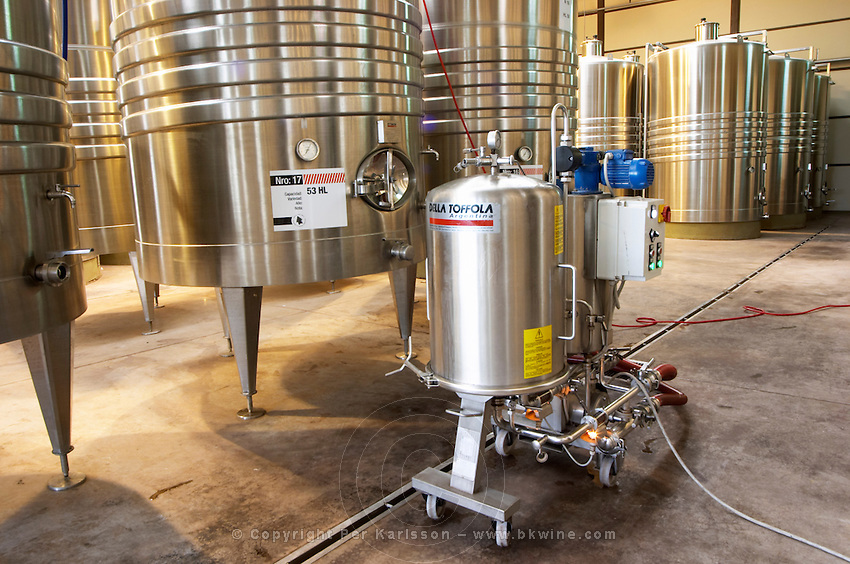 stainless steel tanks. and a filter Bodega Del Anelo Winery, also called Finca Roja, Anelo Region, Neuquen, Patagonia, Argentina, South America