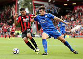 30th September 2017, Vitality Stadium, Bournemouth, England; EPL Premier League football, Bournemouth versus Leicester; Joshua King of Bournemouth is tackled by Harry Maguire of Leicester