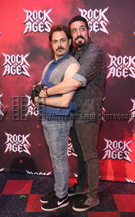 "Mitchell Jarvis and Matt Ban during the tech rehearsal for ""Rock of Ages"" 10th Anniversary Production on June 13, 2019 at the New World Stages in New York City."