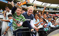 Fans cheer from the stands during 2nd Twenty20 cricket match match between New Zealand Black Caps and West Indies at Westpac Stadium, Wellington, New Zealand on Friday, 27 February 2009. Photo: Dave Lintott / lintottphoto.co.nz