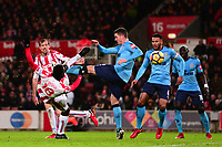 Mame Diouf of Stoke takes a shot on goal during the EPL - Premier League match between Stoke City and Newcastle United at the Britannia Stadium, Stoke-on-Trent, England on 1 January 2018. Photo by Bradley Collyer / PRiME Media Images.