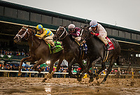 LEXINGTON, KY - OCTOBER 08: Flameaway #12 with Julien Leparoux aboard gets up to beat Tap Daddy #3 with Florent Geroux and Tigers Rule #1, and Miguel Mena in the The Dixiana Bourbon Stakes at Keeneland Race Course on October 08, 2017 in Lexington, Kentucky. (Photo by Alex Evers/Eclipse Sportswire/Getty Images)