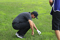 Ashley Chesters (ENG) examines his ball on the 1st hole during Sunday's storm delayed Final Round 3 of the Andalucia Valderrama Masters 2018 hosted by the Sergio Foundation, held at Real Golf de Valderrama, Sotogrande, San Roque, Spain. 21st October 2018.<br /> Picture: Eoin Clarke | Golffile<br /> <br /> <br /> All photos usage must carry mandatory copyright credit (&copy; Golffile | Eoin Clarke)
