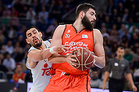 Real Madrid's Gustavo Ayon and Valencia Basket's Bojan Dubljevic during Quarter Finals match of 2017 King's Cup at Fernando Buesa Arena in Vitoria, Spain. February 19, 2017. (ALTERPHOTOS/BorjaB.Hojas)