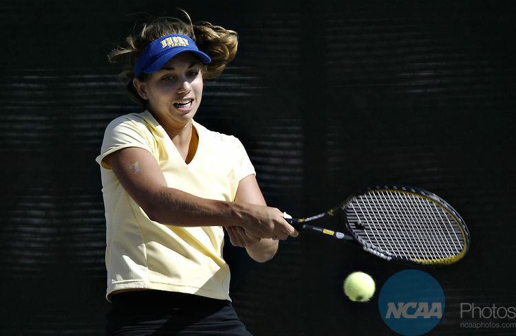 19 May 2003:  Jolyn Taylor of Emory University hits a backhand against Mary Ellen Gordon of Emory University during the Division 3 Women's Tennis Singles Championship held at Verdieck Court on the University of Redlands campus in Redlands, CA.  Gordon defeated Taylor 6-4, 6-1 for the singles national title. Todd Warshaw/NCAA Photos