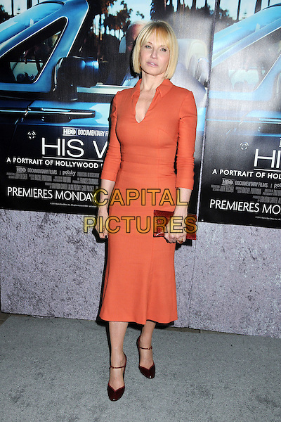 "ELLEN BARKIN .HBO's ""His Way"" Los Angeles Premiere held at Paramount Studios, Los Angeles,  California, USA, 22nd March 2011..full length red orange dress collar shirt  clutch bag burgundy maroon .CAP/ADM/BP .©Byron Purvis/AdMedia/Capital Pictues."