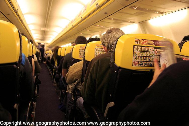 Inside Ryanair plane at Stansted airport, Essex, England, UK