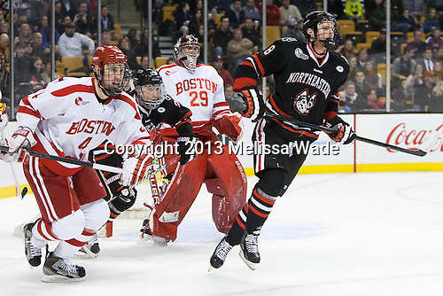Patrick MacGregor (BU - 4), Colton Saucerman (NU - 23), Matt O'Connor (BU - 29), Adam Reid (NU - 8) - The Northeastern University Huskies defeated the Boston University Terriers 3-2 in the opening round of the 2013 Beanpot tournament on Monday, February 4, 2013, at TD Garden in Boston, Massachusetts.