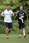 28 May 2012: Bill Gaudette (1) with assistant coach Curt Onalfo (left). The Los Angeles Galaxy held a training session on Field 6 at WakeMed Soccer Park in Cary, NC the day before playing in a 2012 Lamar Hunt U.S. Open Cup third round game.