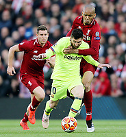 Barcelona's Lionel Messi under pressure from  Liverpool's Fabinho<br /> <br /> Photographer Rich Linley/CameraSport<br /> <br /> UEFA Champions League Semi-Final 2nd Leg - Liverpool v Barcelona - Tuesday May 7th 2019 - Anfield - Liverpool<br />  <br /> World Copyright &copy; 2018 CameraSport. All rights reserved. 43 Linden Ave. Countesthorpe. Leicester. England. LE8 5PG - Tel: +44 (0) 116 277 4147 - admin@camerasport.com - www.camerasport.com