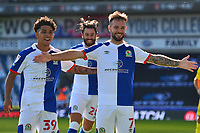 Blackburn Rovers' Adam Armstrong (R) celebrates scoring his side's third goal with team-mate John Buckley<br /> <br /> Photographer Richard Martin-Roberts/CameraSport<br /> <br /> The EFL Sky Bet Championship - Blackburn Rovers v Wycombe Wanderers - Saturday 19 September 2020 - Ewood Park - Blackburn<br /> <br /> World Copyright © 2020 CameraSport. All rights reserved. 43 Linden Ave. Countesthorpe. Leicester. England. LE8 5PG - Tel: +44 (0) 116 277 4147 - admin@camerasport.com - www.camerasport.com