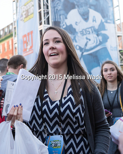 Britt Miller (BU - Manager) (McEachern) - The teams walked the red carpet through the Fan Fest outside TD Garden prior to the Frozen Four final on Saturday, April 11, 2015, in Boston, Massachusetts.