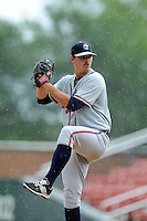 Pitcher Caleb Beech (40) of the Rome Braves delivers a pitch in a game against the Greenville Drive on Sunday, June 14, 2015, at Fluor Field at the West End in Greenville, South Carolina. Rome won, 5-2. (Tom Priddy/Four Seam Images)