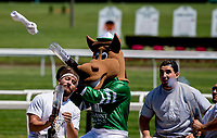 ELMONT, NY - JUNE 09: Gallop, the Belmont Park Mascot fires t-shirts into the crowd on Belmont Stakes Day at Belmont Park on June 9, 2018 in Elmont, New York. (Photo by Kazushi Ishida/Eclipse Sportswire/Getty Images)