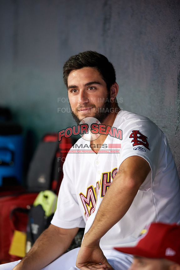 Memphis Redbirds starting pitcher Daniel Poncedeleon (73) in the dugout during a game against the Round Rock Express on April 28, 2017 at AutoZone Park in Memphis, Tennessee.  Memphis defeated Round Rock 9-1.  (Mike Janes/Four Seam Images)