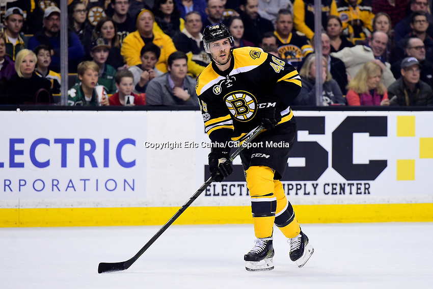 Wednesday, March 8, 2017: Boston Bruins center David Krejci (46) in action during the National Hockey League game between the Detroit Red Wings and the Boston Bruins held at TD Garden, in Boston, Mass.  Boston defeats Detroit 6-1 in regulation time. Eric Canha/CSM