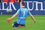 10.03.2018, BayArena, Leverkusen , GER, 1.FBL., Bayer 04 Leverkusen vs. Borussia Moenchengladbach<br /> im Bild / picture shows: <br /> Bernd Leno Torwart (Leverkusen #1), freut sich uebr das 2:0 und rutscht über den Boden <br /> <br /> <br /> Foto © nordphoto / Meuter