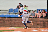 Danville Braves catcher Brett Cumberland (26) runs to first base during a game against the Johnson City Cardinals at Howard Johnson Field at Cardinal Park on July 26, 2016 in Johnson City, Tennessee. The Braves defeated the Cardinals 10-8. (Tony Farlow/Four Seam Images)