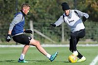 Martin Olsson of Swansea City (right) in action during the Swansea City Training at The Fairwood Training Ground, in Swansea, Wales, UK. Wednesday 02 November 2018