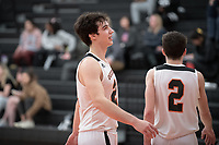 #21 Caleb Yellin-Flaherty<br /> The Occidental College men's basketball team plays against Claremont-Mudd-Scripps on February 12, 2020 in Rush Gym. Oxy won 58-49.<br /> (Photo by Marc Campos, Occidental College Photographer)