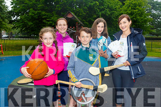 Launching the Gaelcampa in the Tralee town park on Thursday<br /> Front l tor: Keira O'Sullivan and Will Leahy.<br /> Back l-r, Aoife O'Donoghue, Joanne O'Sullivan and Aoileann De Hora.