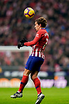 Antoine Griezmann of Atletico de Madrid heads the ball during the La Liga 2018-19 match between Atletico de Madrid and RCD Espanyol at Wanda Metropolitano on December 22 2018 in Madrid, Spain. Photo by Diego Souto / Power Sport Images
