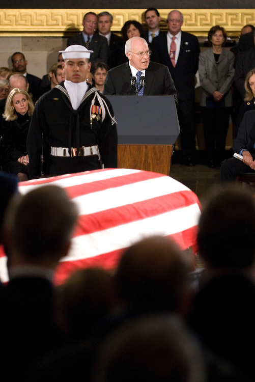 Vice President Dick Cheney speaks during the state funeral for former President Gerald Ford in the Rotunda of the U.S. Capitol in Washington on Saturday evening, Dec. 30, 2006.