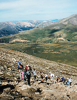 Mount Bierstadt hike in Clear Creek County, Colorado, September 2013. At an elevation of 14,065 ft (4,287m), Mount Bierstadt is one of 54 fourteeners in Colorado.<br /> <br /> Photo by Matt Nager