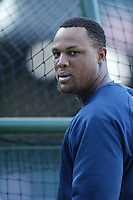 Adrian Beltre of the Seattle Mariners during batting practice before a game from the 2007 season at Angel Stadium in Anaheim, California. (Larry Goren/Four Seam Images)