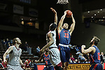 SIOUX FALLS, SD - MARCH 9:  Joshua Wilchcombe #33 of Oklahoma Wesleyan grabs a rebound over Aaron Thomas #13 of IU East at the 2018 NAIA DII Men's Basketball Championship at the Sanford Pentagon in Sioux Falls. (Photo by Dick Carlson/Inertia)