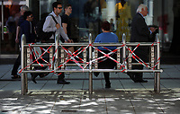 Pictured: A disused stainless steel bench in Queen Street, Cardiff Thursday 25 May 2017<br />